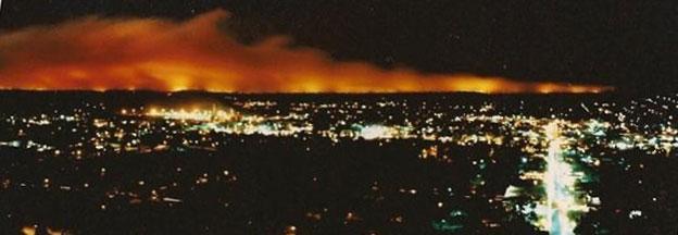 Awbrey Hall Fire Bend Oregon c. 1990 as seen from Pilot Butte